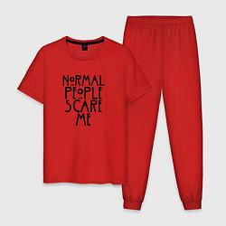 Пижама хлопковая мужская Normal people scare me цвета красный — фото 1