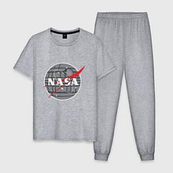 Пижама хлопковая мужская NASA: Death Star цвета меланж — фото 1