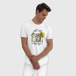 Пижама хлопковая мужская Just Say Cheese цвета белый — фото 2