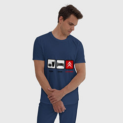 Пижама хлопковая мужская Еда, сон и Citroen цвета тёмно-синий — фото 2