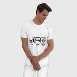 Пижама хлопковая мужская Еда, сон и Volvo цвета белый — фото 2