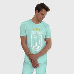 Пижама хлопковая мужская Juventus: 3 stars цвета мятный — фото 2
