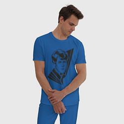 Пижама хлопковая мужская Юный Есенин цвета синий — фото 2