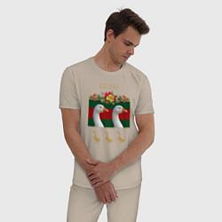 Пижама хлопковая мужская GUSSI: Flowers Style цвета миндальный — фото 2