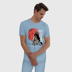 Пижама хлопковая мужская Темный всадник цвета мягкое небо — фото 2