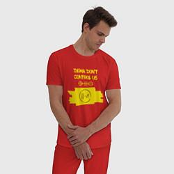 Пижама хлопковая мужская Dema Don't Control Us цвета красный — фото 2
