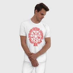 Пижама хлопковая мужская Alucard Pentagram цвета белый — фото 2
