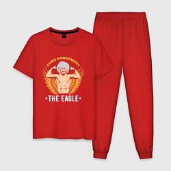 Пижама хлопковая мужская Khabib: The Eagle цвета красный — фото 1