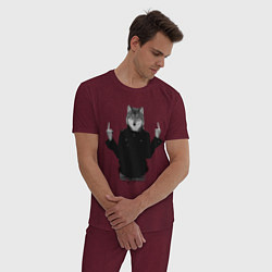 Пижама хлопковая мужская Fuck wolf цвета меланж-бордовый — фото 2