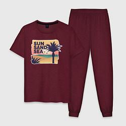 Пижама хлопковая мужская Солнце, песок, море цвета меланж-бордовый — фото 1