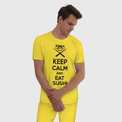 Пижама хлопковая мужская Keep Calm & Eat Sushi цвета желтый — фото 2