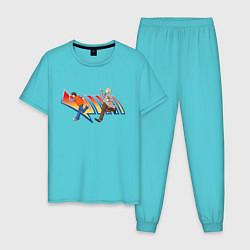 Пижама хлопковая мужская Док и Марти цвета бирюзовый — фото 1
