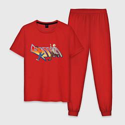 Пижама хлопковая мужская Док и Марти цвета красный — фото 1