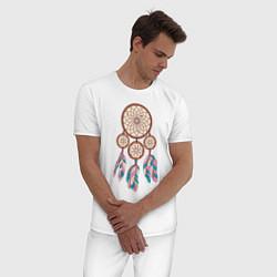 Пижама хлопковая мужская Ловец снов цвета белый — фото 2
