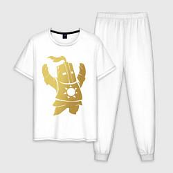 Пижама хлопковая мужская Praise the Sun! цвета белый — фото 1