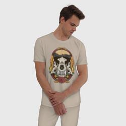 Пижама хлопковая мужская Череп Тигра цвета миндальный — фото 2