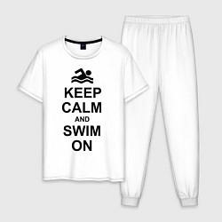 Пижама хлопковая мужская Keep Calm & Swim On цвета белый — фото 1