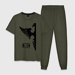 Пижама хлопковая мужская 30 seconds to mars цвета меланж-хаки — фото 1