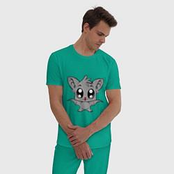Пижама хлопковая мужская Летучая мышка цвета зеленый — фото 2