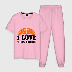 Пижама хлопковая мужская I love this game цвета светло-розовый — фото 1