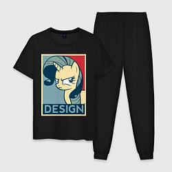Пижама хлопковая мужская MLP: Design цвета черный — фото 1