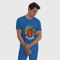 Пижама хлопковая мужская Рублю цвета синий — фото 2