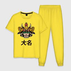 Пижама хлопковая мужская Даймё самурай цвета желтый — фото 1