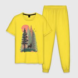 Пижама хлопковая мужская Forest Adventure цвета желтый — фото 1