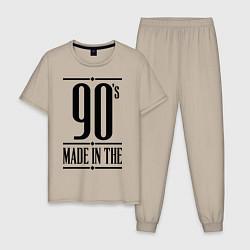 Пижама хлопковая мужская Made in the 90s цвета миндальный — фото 1