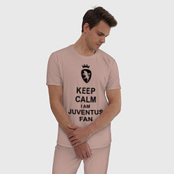 Пижама хлопковая мужская Keep Calm & Juventus fan цвета пыльно-розовый — фото 2