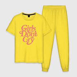 Пижама хлопковая мужская Girls don't cry цвета желтый — фото 1