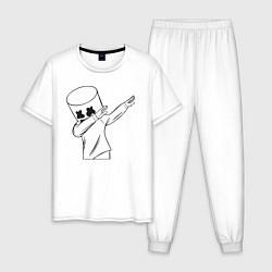 Пижама хлопковая мужская Marshmello: I was there цвета белый — фото 1