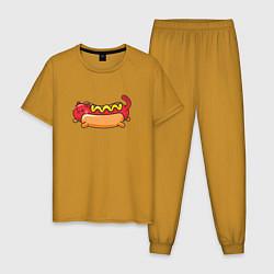 Пижама хлопковая мужская Hot Cat цвета горчичный — фото 1
