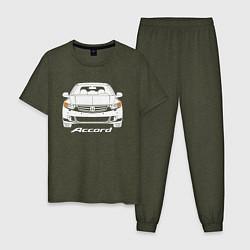 Пижама хлопковая мужская Honda Accord 8 цвета меланж-хаки — фото 1