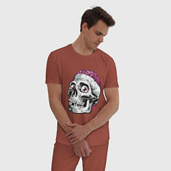 Пижама хлопковая мужская Череп цвета кирпичный — фото 2