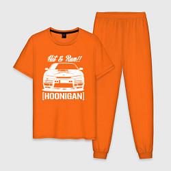 Пижама хлопковая мужская Nissan Silvia S14 Hoonigan цвета оранжевый — фото 1