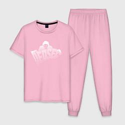 Пижама хлопковая мужская DED SEC цвета светло-розовый — фото 1