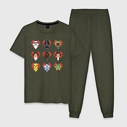 Пижама хлопковая мужская Star Wars Love цвета меланж-хаки — фото 1