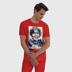 Пижама хлопковая мужская Keep Calm & Love Harry Styles цвета красный — фото 2
