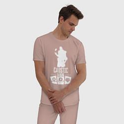 Пижама хлопковая мужская AL: Caustic Main цвета пыльно-розовый — фото 2
