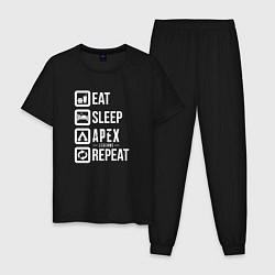 Пижама хлопковая мужская Eat, Sleep, Apex, Repeat цвета черный — фото 1