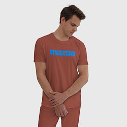 Пижама хлопковая мужская MAZDA цвета кирпичный — фото 2