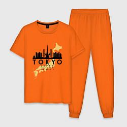 Пижама хлопковая мужская Токио - Япония цвета оранжевый — фото 1