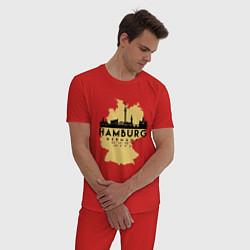 Пижама хлопковая мужская Гамбург - Германия цвета красный — фото 2