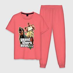 Пижама хлопковая мужская GTA 5: Man & Dog цвета коралловый — фото 1
