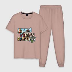 Пижама хлопковая мужская GTA V Stories цвета пыльно-розовый — фото 1