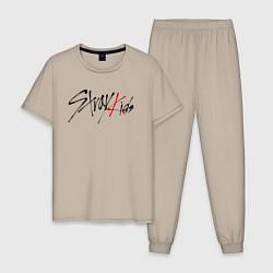 Пижама хлопковая мужская Stray Kids цвета миндальный — фото 1