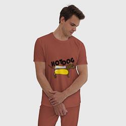 Пижама хлопковая мужская Hot Dog цвета кирпичный — фото 2