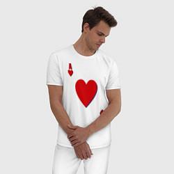 Пижама хлопковая мужская Червовый туз цвета белый — фото 2
