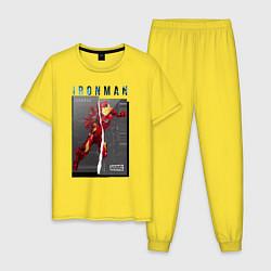 Пижама хлопковая мужская Iron Man: Glitch Effect цвета желтый — фото 1